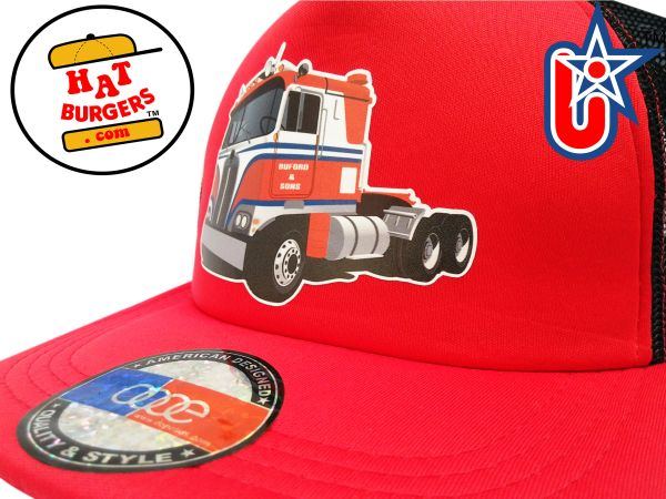 smARTpatches Truckers Semi Big Rig Trucker Hat (Red & Black)