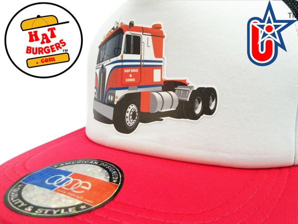 smARTpatches Truckers Semi Big Rig Trucker Hat (Red, Black & White)