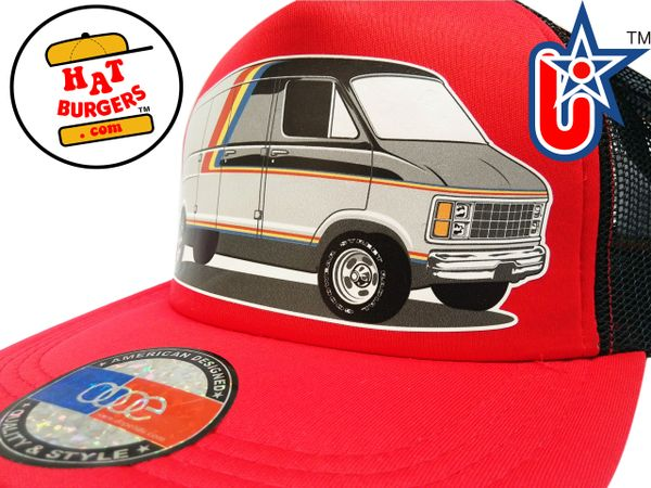 smARTpatches Truckers 70's Custom Van Trucker Hat (Red & Black)