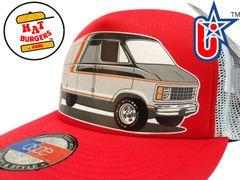 smARTpatches Truckers 70's Custom Van Trucker Hat (Red & White)
