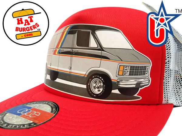smARTpatches Truckers 70's Custom Van Trucker Hat (Red & White)