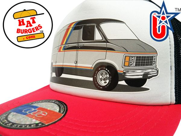 smARTpatches Truckers 70's Custom Van Trucker Hat (Red, Black & White)