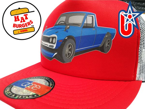 smARTpatches Truckers 70's Pickup Truck Trucker Hat (Red & White)