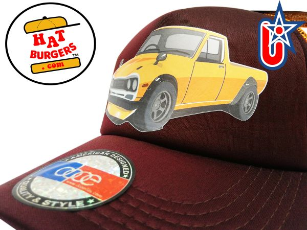 smARTpatches Truckers 70's Pickup Truck Trucker Hat (Orange & Cinnamon)
