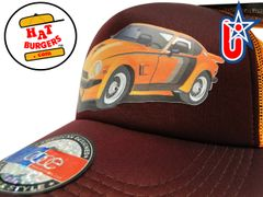 smARTpatches Truckers 70's Sports Car Trucker Hat (Orange & Cinnamon)
