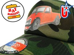 smARTpatches Truckers 70's Pickup Truck Trucker Hat Curved Bill (Red Truck, Camo)