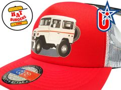 smARTpatches Truckers 70's 4 x 4 Truck Trucker Hat (Off White Truck, Red & White)