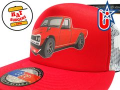 smARTpatches Truckers 70's Pickup Truck Trucker Hat (Red Truck, Red & White)