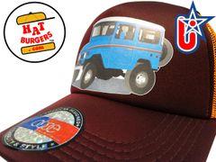 smARTpatches Truckers 70's 4 x 4 Truck Trucker Hat Curved Bill (Blue Truck, Orange & Cinnamon)