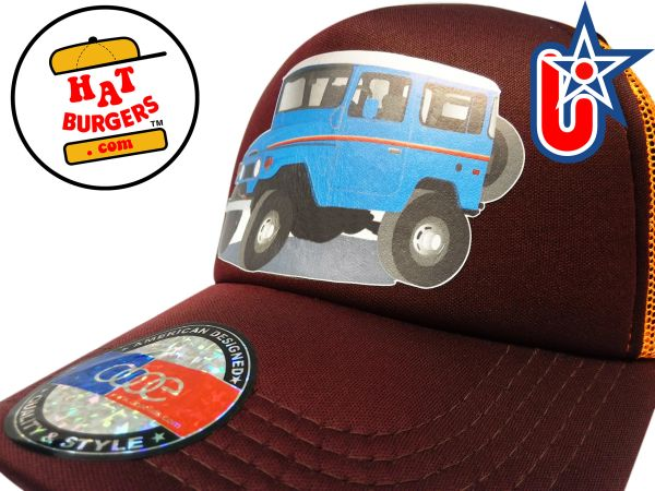 smARTpatches Truckers 70's 4 x 4 Truck Trucker Hat Curved Bill (Blue Truck, Orange & Cinnamon)