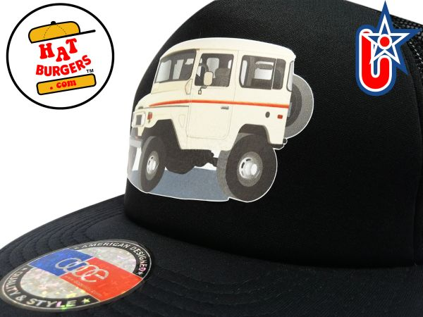smARTpatches Truckers 70's 4 x 4 Truck Trucker Hat (Tan Truck, Solid Black)