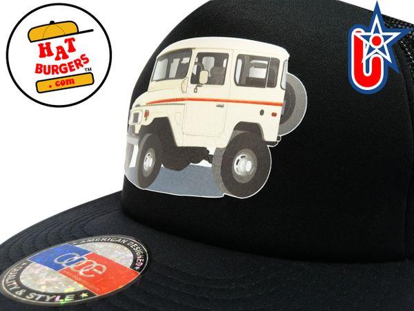 smARTpatches Truckers 70's 4 x 4 Truck Trucker Hat (Tan Truck, Solid Black)
