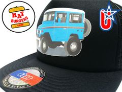 smARTpatches Truckers 70's 4 x 4 Truck Trucker Hat (Blue Truck, Solid Black)