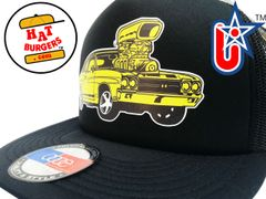smARTpatches Truckers 70's Muscle Car Hot Rod Trucker Hat (Yellow Car, Solid Black)