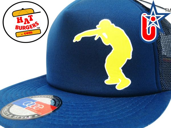 smARTpatches Truckers Hip Hop DJ Rapper Trucker Hat (Yellow Rapper, Solid Navy)
