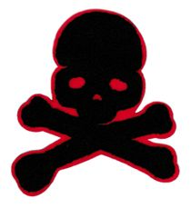 Cool Black & Red Chenille Skull Patch 12cm Applique