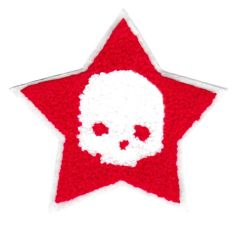 Large Red & White Chenille Skull Star Patch 10cm Applique