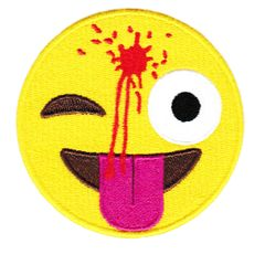 Cute & Funny Headshot Happy Face Emoji Patch XXL 8.5 inches 21.6cm