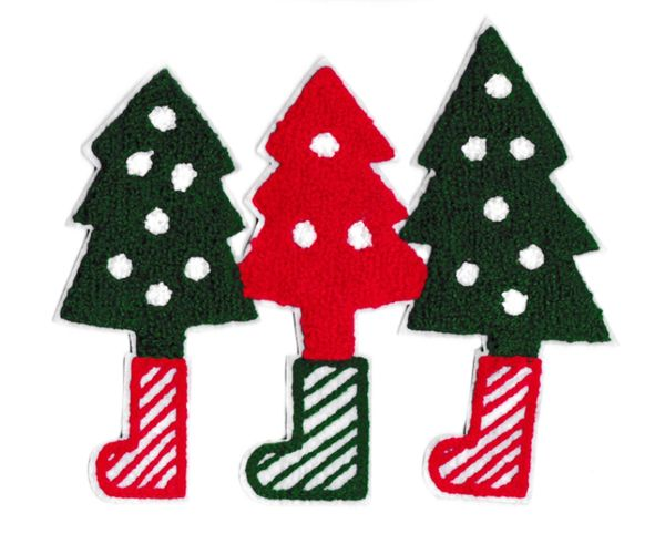 Chenille Christmas Trees Patch Applique XXL Extra Large 19cm