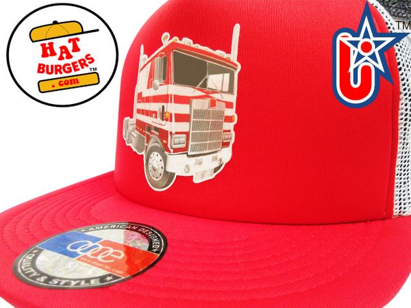 smARTpatches Truckers Semi Big Rig Trucker Hat (Red & White)