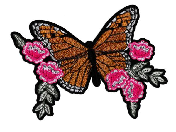 Beautiful Butterfly & Flowers Patch XXL 21cm x 17cm Applique