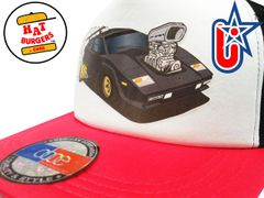 smARTpatches Truckers 80's Muscle Car Hot Rod Trucker Hat (Black Car, RED/WHI/BLK))
