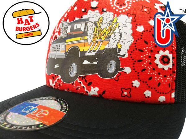 smARTpatches Truckers 70's Muscle Car Hot Rod Truck Trucker Hat (Bandana,Black)