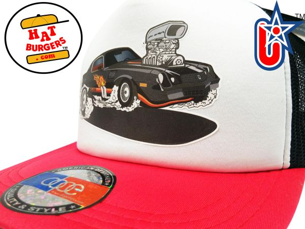smARTpatches Truckers 80's Muscle Car Hot Rod Trucker Hat (Black Car, RED/WHI/BLK)