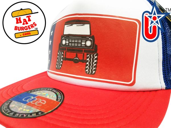 smARTpatches Truckers 80's Muscle Car Hot Rod 4 x 4 Truck Trucker Hat (Green Car, Bandana)