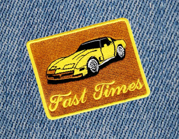 Fast Times Vintage Corvette Car Patch 8.5cm