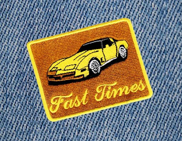 Fast Times Vintage Corvette Car Patch 8.5cm