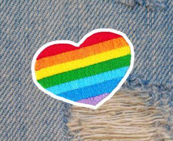 Fabulous LGBT Gay Lesbian Heart Patch 5.5cm