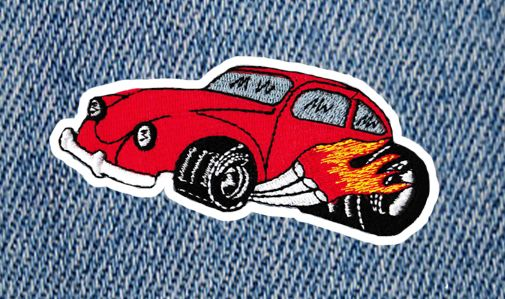 Cool Vintage Style 70's Hot Rod Car Patch 11cm