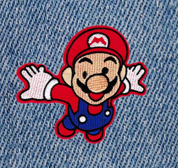 Cool 80's Style Mario Patch 12cm Applique