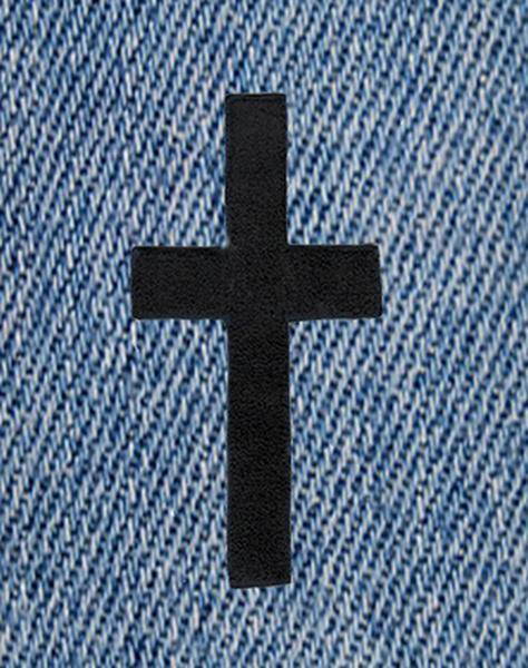 Beautiful Chenille Black Cross Patch XXL 23cm