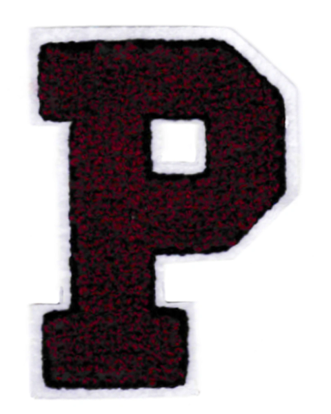 Chenille Dark Red Letter P Patch 9.5cm