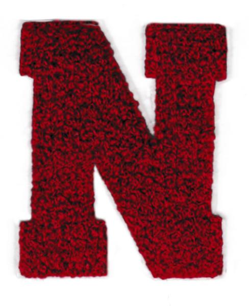 Chenille Dark Red Letter N Patch 9cm