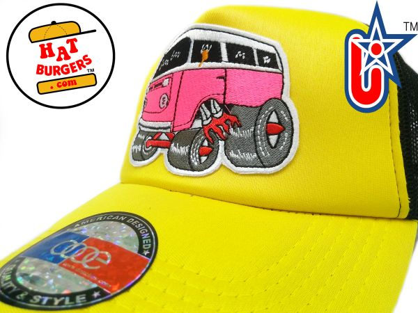 smARTpatches Truckers 70's Hippie Van Car Hot Rod Truck Trucker Hat (Yellow, Black)