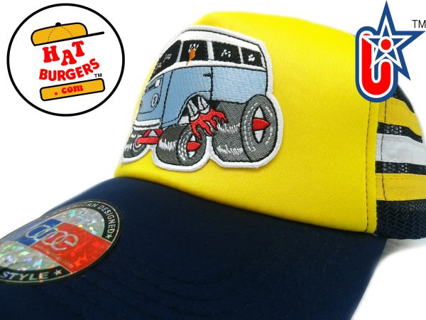 smARTpatches Truckers 70's Hippie Van Car Hot Rod Truck Trucker Hat (Yellow, Blue)