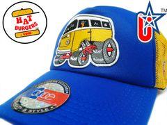 smARTpatches Truckers 70's Hippie Van Car Hot Rod Truck Trucker Hat (Yellow, Blue)