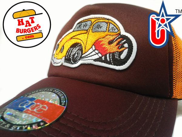 smARTpatches Truckers 70's Hippie Hot Rod Car Hot Rod Truck Trucker Hat (Orange, Cinnamon)