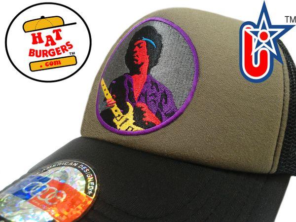 smARTpatches Truckers 60's Guitar Rocker Rock Trucker Hat (Black, OD Green)