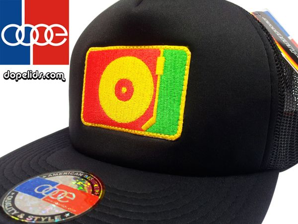 smartpatches Rasta DJ Turntable Silhouette Flat Bill Trucker Hat