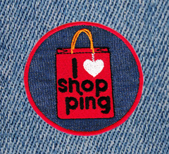Cute I Love Shoppin Patch 7.5cm Emoji Applique