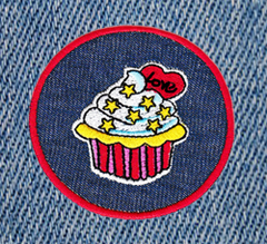 Cute Vintage Love Cupcake Patch 7.5cm Emoji Applique
