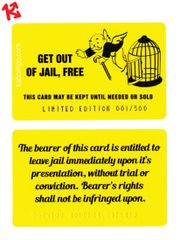 Cute & Funny Get Out Of Jail Free Kaboingo Card Limited Edition/500