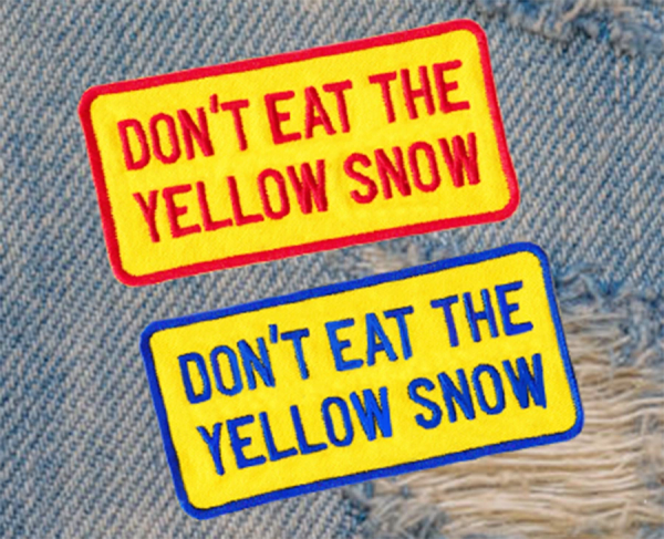 Don't Eat The Yellow Snow Vintage Style Skiing Snowboard Patch 9.5cm x 5cm