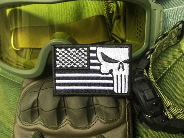 Cool USA Flag Military Custom Skull Patch Applique 7cm