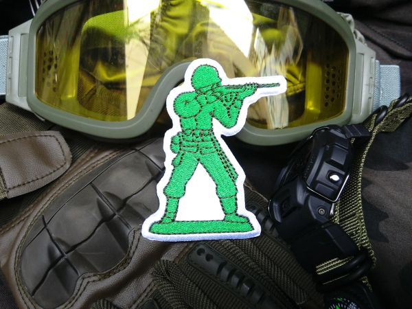 Cool Tactical Military Machine Gun Green Army Man Morale Patch Applique 8cm