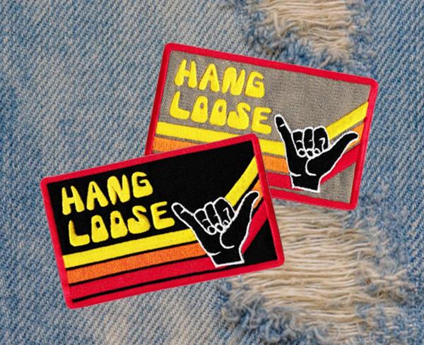 Vintage Style 70's 80's Hang Loose Surfer Patch 9.5cm Applique